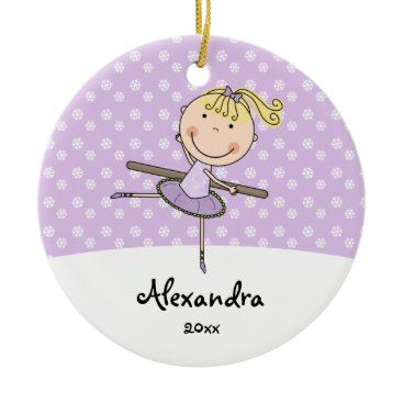 Christmas Themed Purple Ballerina Snowflakes Personalized Christmas Ceramic Ornament