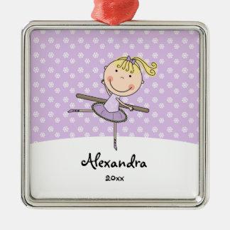 Purple Ballerina Snowflakes Personalized Christmas Metal Ornament
