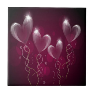 Purple Ballons Hearts Format, Birthday Ceramic Tiles