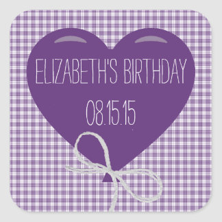 Purple Balloon and Gingham Birthday Square Sticker