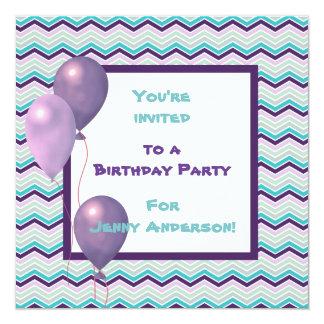 Purple Balloon Chevron Birthday Party Invitation