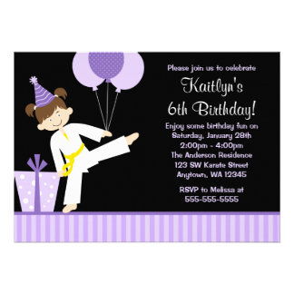 Purple Balloons Taekwondo Karate Girl Birthday Personalized Invites