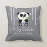 "Purple Bamboo Panda Baby Announcement Pillow<br><div class=""desc"">A cute and sweet personalized baby birth announcement pillow with a baby panda bear in diapers held together with a diaper pin holding a green bamboo shoot in her hand. It sits happily in the middle of a light purple lavender hued bamboo forest on a gray background. Customize it to...</div>"