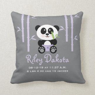 Purple Bamboo Panda Baby Announcement Pillow