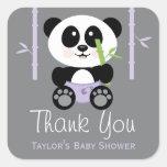 Purple Bamboo Panda Baby Shower Thank You Stickers