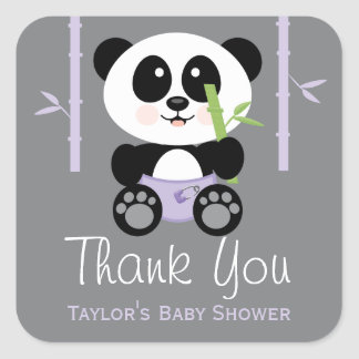 Purple Bamboo Panda Baby Shower Thank You Stickers