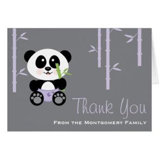 Purple Bamboo Panda Diaper Baby Shower Thank You Greeting Cards