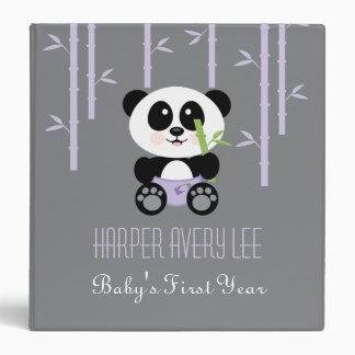 Purple Bamboo Panda in Diapers Baby Photo Album 3 Ring Binder