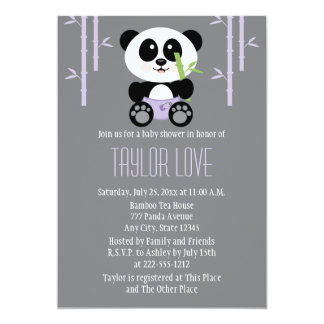 Purple Bamboo Panda in Diapers Baby Shower 5x7 Paper Invitation Card