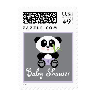 Purple Bamboo Panda in Diapers Baby Shower Stamp