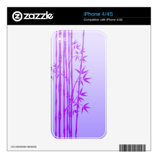 Purple Bamboo Sticks with Leaves Skins For The iPhone 4S