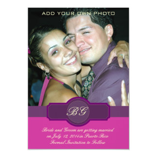 Purple Banner Monograms Photo Save the Date Cards