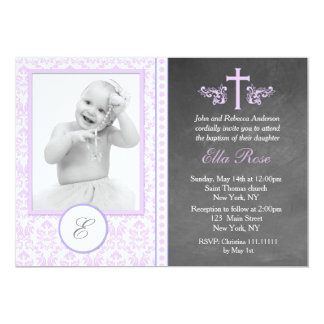 Purple Baptism Christening Invitations