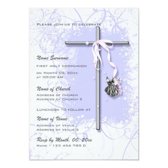 Purple baptism religious communion confirmation card