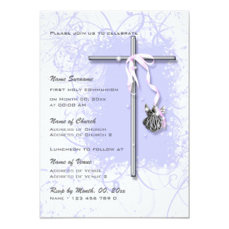 "Purple baptism religious communion confirmation 4.5"" x 6.25"" invitation card"