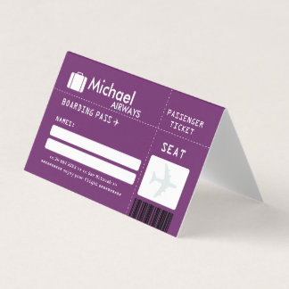 Purple Bar Mitzvah Airline Ticket Place Card