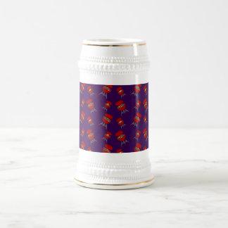 purple barbeque pattern 18 oz beer stein