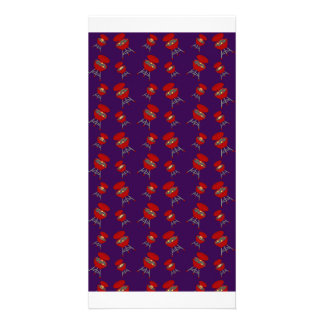 purple barbeque pattern personalized photo card