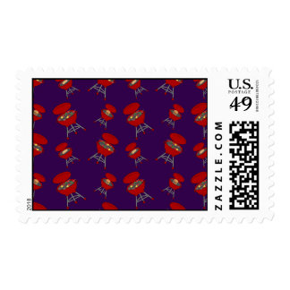 purple barbeque pattern postage stamp