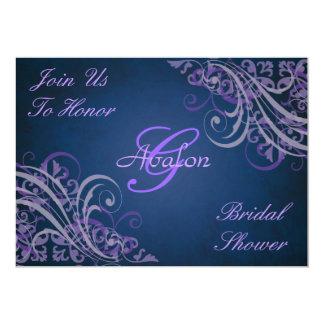 Purple Baroque Swirls Bridal Shower Blue 5x7 Paper Invitation Card