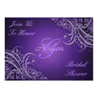 Purple Baroque Swirls Bridal Shower Invitation