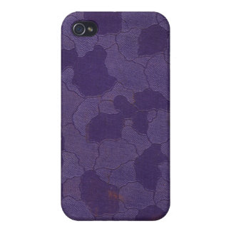 Purple Bas-Relief Floral Book Cover iPhone 4 Case