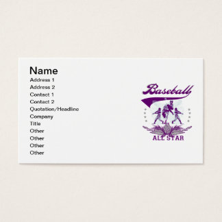 Purple Baseball All Star T-shirts and Gifts Business Card