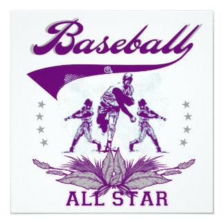 Purple Baseball All Star T-shirts and Gifts Invitation