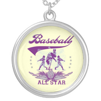 Purple Baseball All Star T-shirts and Gifts Silver Plated Necklace