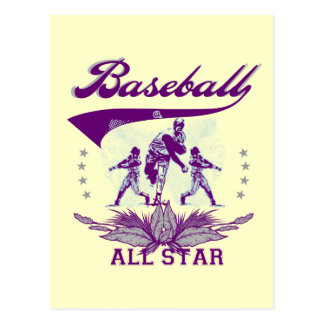 Purple Baseball All Star Tshirts and Gifts Postcards