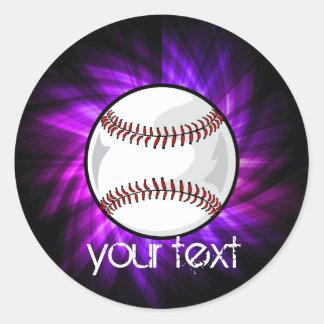 Purple Baseball; Softball Classic Round Sticker
