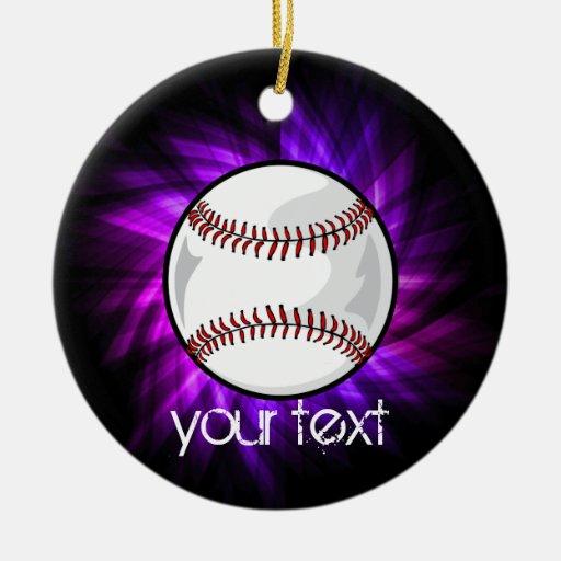 Purple Baseball; Softball Christmas Tree Ornaments