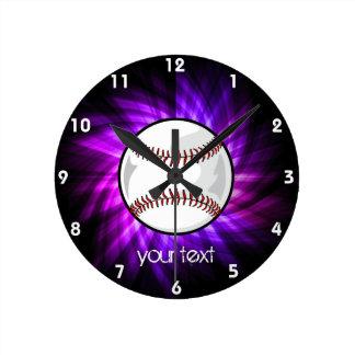 Purple Baseball; Softball Round Clock