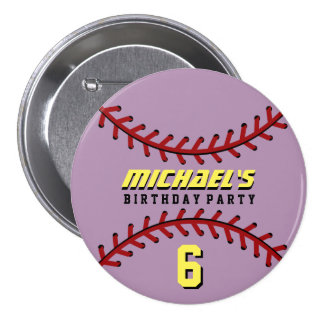 Purple Baseball Sports Birthday Party Button Pin