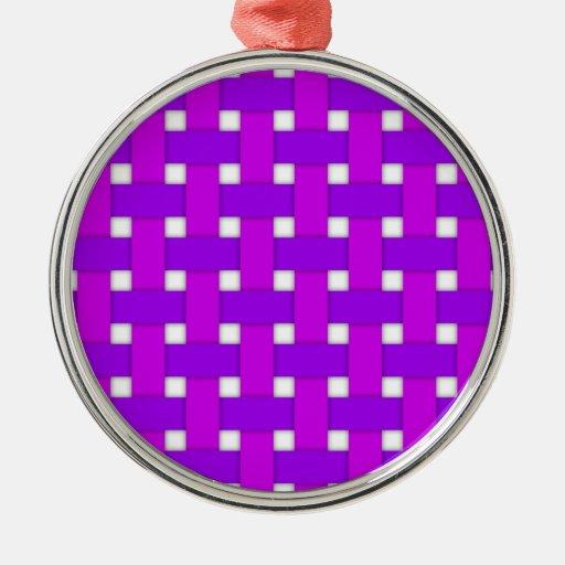 Purple Basket Weave Round Metal Christmas Ornament
