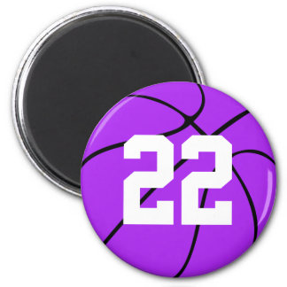 Purple Basketball Custom Jersey Number Magnet