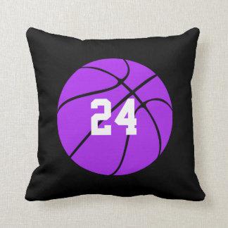 Purple Basketball Custom Player Name Throw Pillow