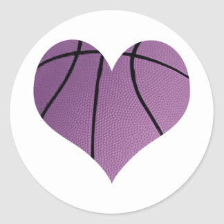 Purple Basketball In The Shape Of A Heart Stickers