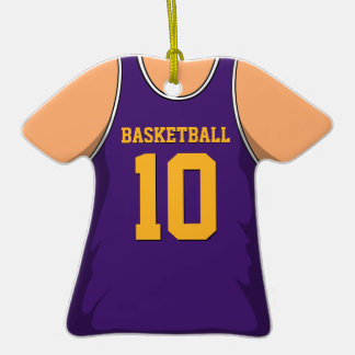 Purple Basketball Jersey 10 V1 Double-Sided T-Shirt Ceramic Christmas Ornament