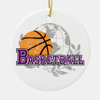 Purple Basketball T-shirts and Gifts Ceramic Ornament