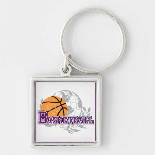 Purple Basketball T-shirts and Gifts Silver-Colored Square Keychain