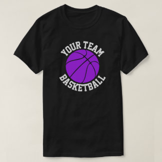 Purple Basketball Team Name Player & Jersey Number T-Shirt