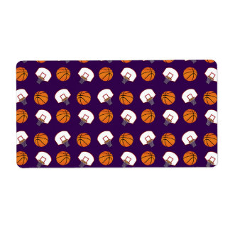 Purple basketballs and nets pattern shipping labels