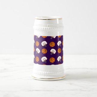 Purple basketballs and nets pattern 18 oz beer stein