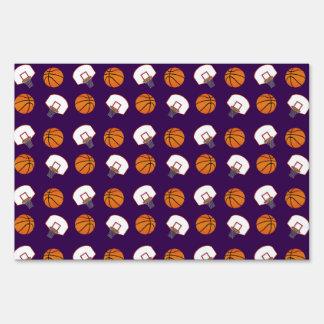 Purple basketballs and nets pattern yard sign