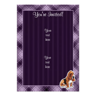 Purple Basset Hound Personalized Invitations