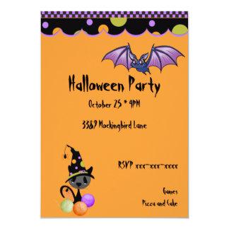 Purple Bat and Cat Halloween Invitation