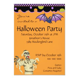 Purple Bat and Mummy Halloween Invitation
