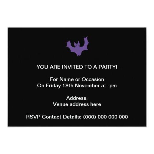 Purple Bat Cartoon. Black Background. Card