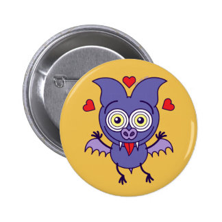 Purple bat feeling madly in love pinback button